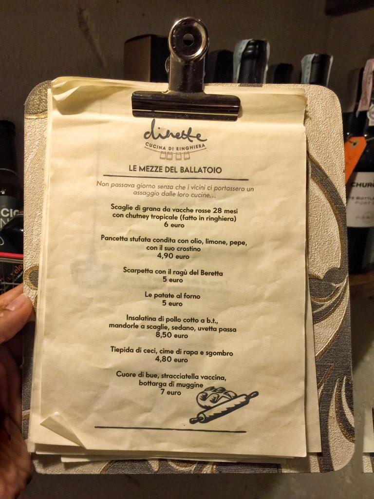 menu dinette
